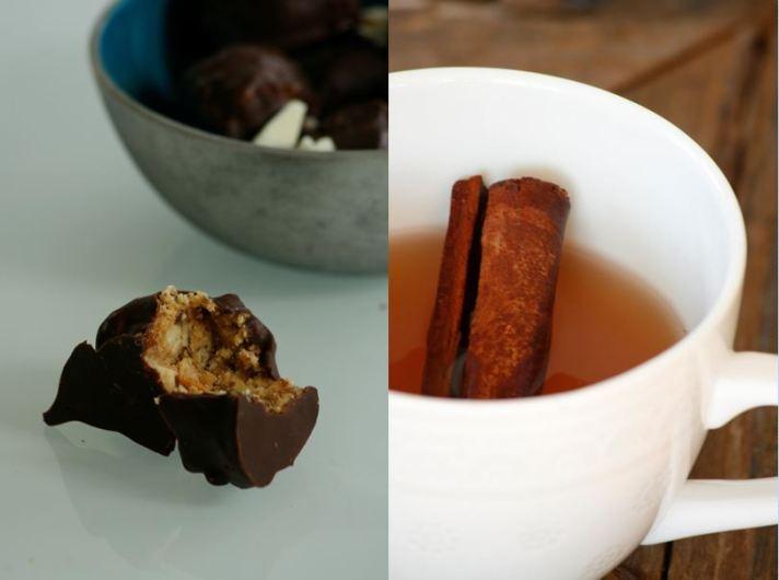 Te og Peanøttkuler med sjokolade